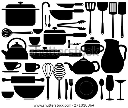 various kitchenware icon in silhouettes can be used for info graphics or website - stock vector