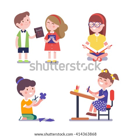 Various learning and studying kids set. Modern flat style illustration. Cartoon character clipart. - stock vector