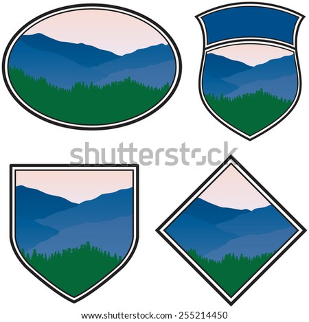 Various Logos with a Mountain Landscape - stock vector