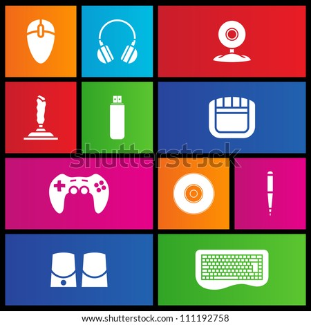 Various metro style icons of PC accessories - stock vector
