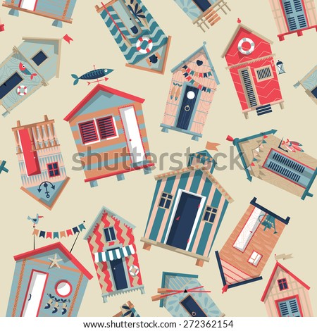 Various multi-colored Beach Huts. Seamless background pattern. Vector illustration - stock vector