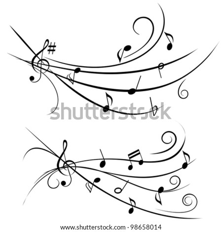 Various music notes on ornamental staff - stock vector