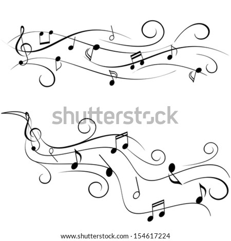 Various music notes on swirly staff - stock vector