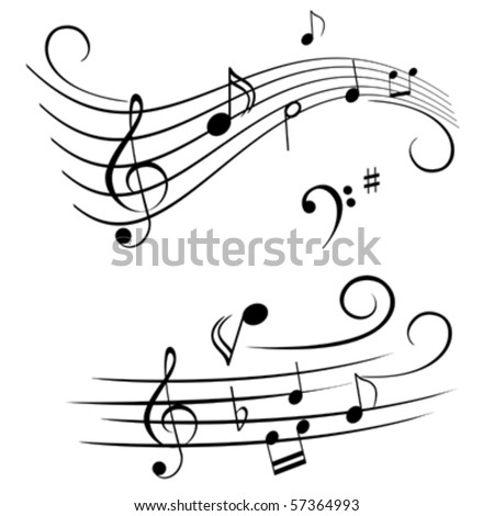 Various musical notes on stave - stock vector