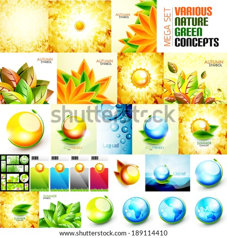 Various nature backgrounds set - autumn and summer concepts - stock vector