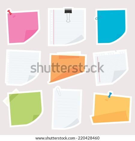 various note papers  - stock vector