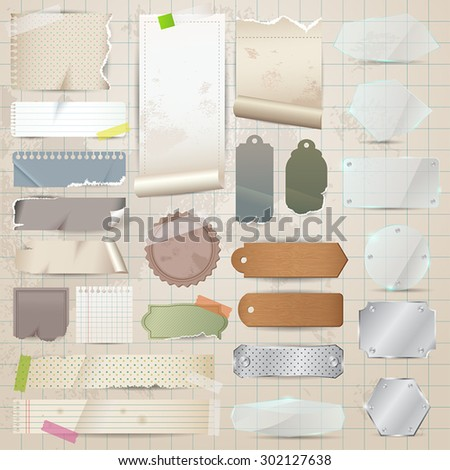 Retro scrapbooking vector collection old paper stock vector various old remnant pieces of material such paper glass metal and wooden plate malvernweather Image collections