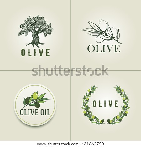 Various Olive logo design templates. Olive branch, olive tree and olive branch wreath illustration. - stock vector