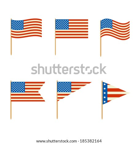 various options flags for decorations on a white background - stock vector