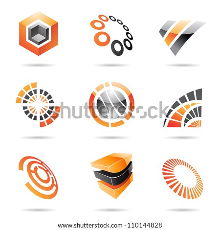 Various orange abstract icons isolated on a white background - stock vector