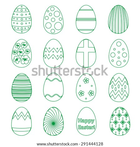 various outline Easter eggs design collection eps10 - stock vector