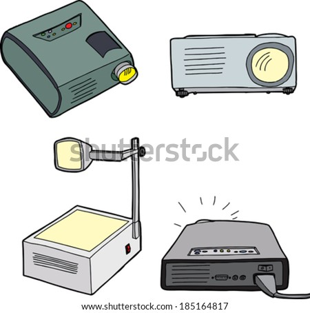Various overhead and digital projectors over white background