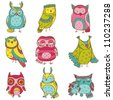 Various Owl Doodle Collection - hand drawn - in vector - stock vector