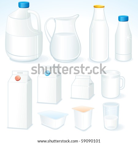 Various packages for dairy products, isolated vector objects - stock vector