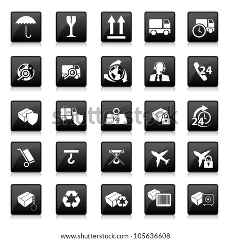 Various packaging signs with reflection on white background - stock vector