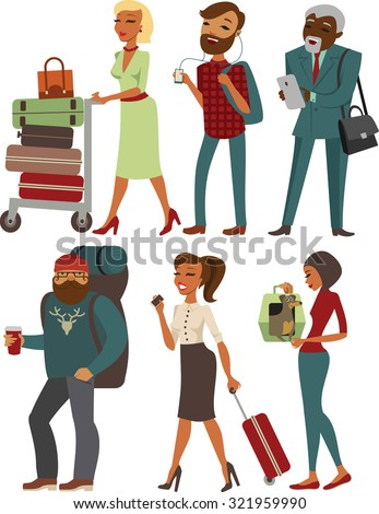 Various people cartoon characters with luggage - stock vector