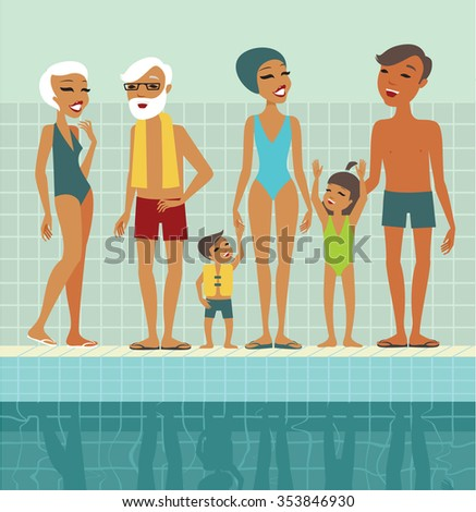 Various people characters in swimming pool flat vector illustration - stock vector
