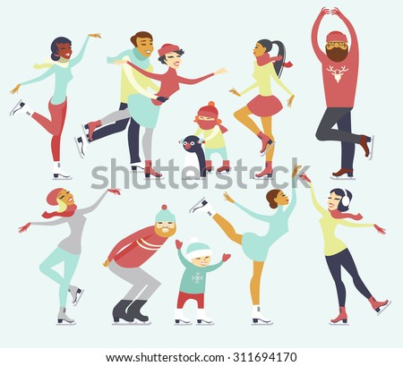 Various people characters skating on ice rink - stock vector