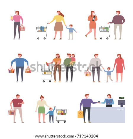 Various people shopping at mall vector illustration flat design