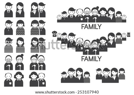 Various People Symbol Icons Couple and Family Set - stock vector