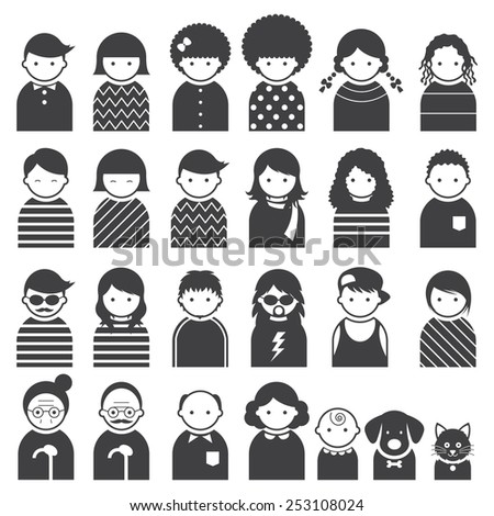 Various People Symbol Icons Family Set - stock vector