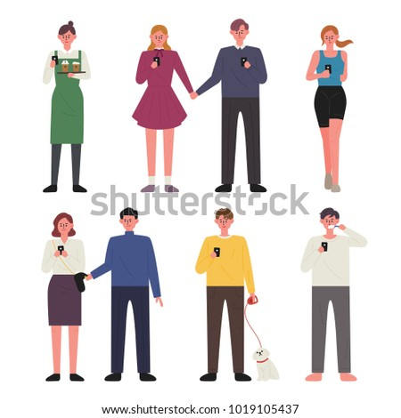 Various people using cell phone characters. vector illustration flat design