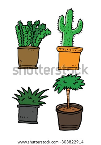 various plants in pots in sketchy style - stock vector