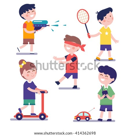 Various playing kids set. Modern flat style illustration. Cartoon character clipart. - stock vector