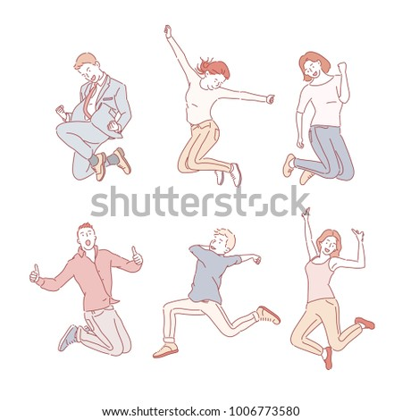 various poses jumping people character. hand drawn style vector doodle design illustrations.