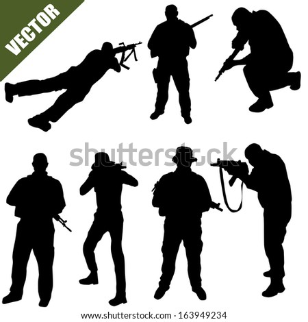 Various poses of army soldiers silhouette  on white background, vector illustration - stock vector