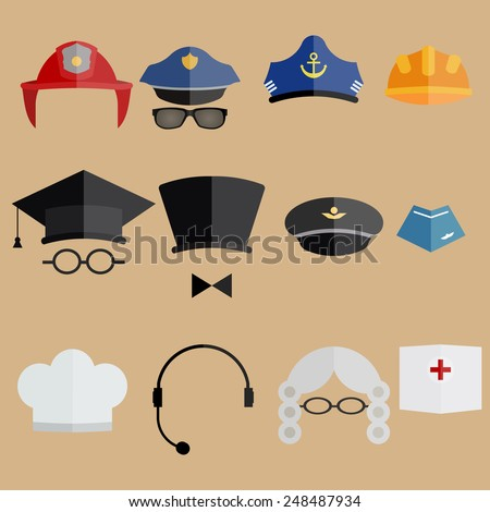 Various professional people hats - vector illustration. Judge wig, forage cap, service cap and other - stock vector
