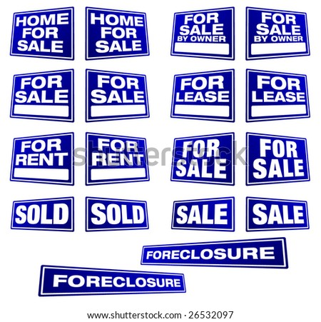 Various Real Estate and Business Signs in Right and Left Perspective. Please see my variations on this theme - more vector Real Estate signs.  - stock vector