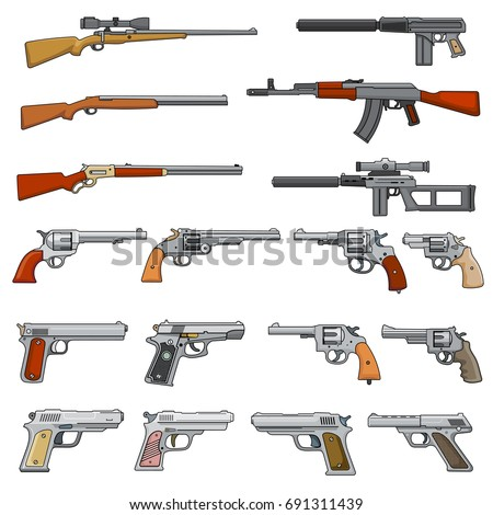 Various Rifle Guns Pistols Cartoon Vector Vector de stock691311439 ...