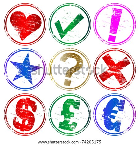 Various rubber stamp symbols - stock vector