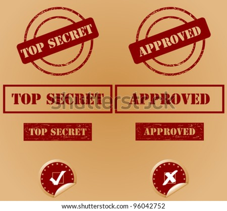 Various security rubber stamps (top secret, approved) - stock vector