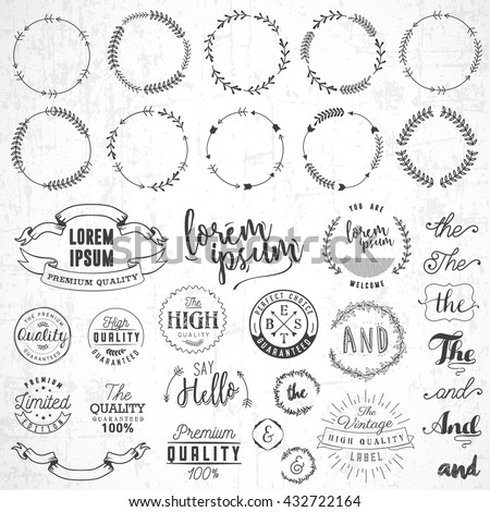 Various Set of Vintage Natural Labels and Illustrations - stock vector