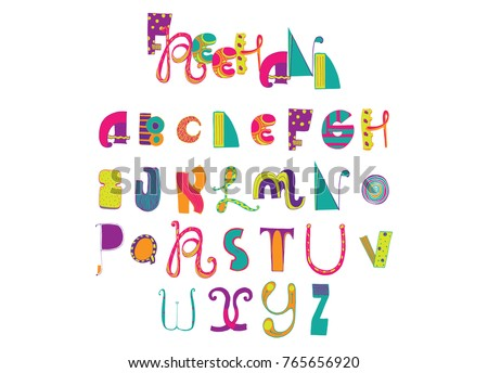 Various Shapes Abc Letters Hand Drawn With Ink And Decorated Different Styles Bright Colors