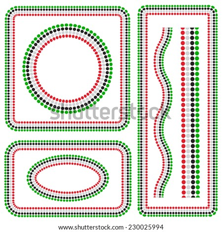 Various shapes graphic border with UAE flag colors. vector design. - stock vector