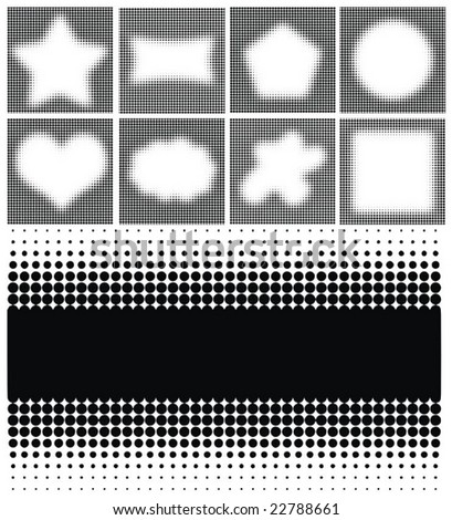 various shapes halftones frames high quality vector illustrations - stock vector