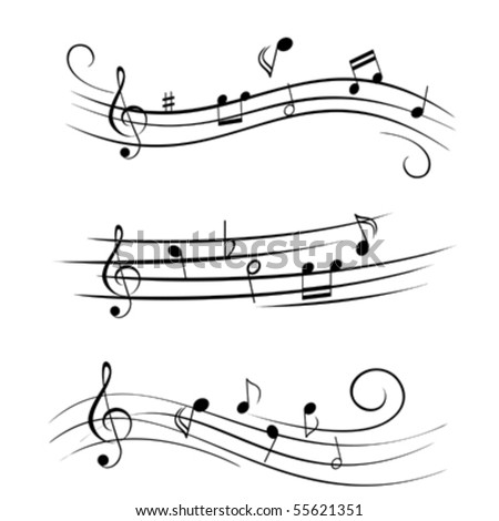 Various sheet music musical notes - stock vector