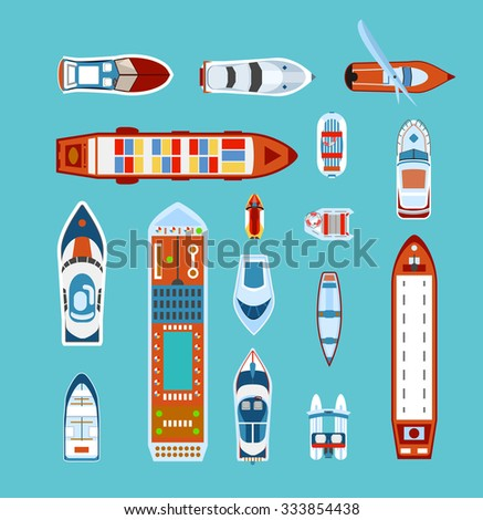 Various ships and boats types on water view from above with cruise liner abstract vector illustration  - stock vector