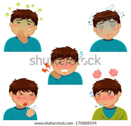 various sickness symptoms - stock vector