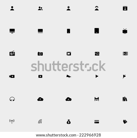 Various silhouette business and technology icon collection set 2, create by vector  - stock vector