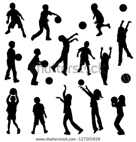 Various silhouettes of children playing and shooting basketball. Clothing and body parts are separate elements grouped for easy color additions. - stock vector