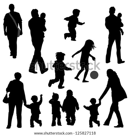 various silhouettes of parents with their kids. - stock vector