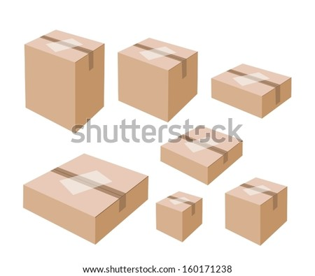 Various Size of Sealed Cardboard Box with Blank White Label Isolated on White Background, Ready for Shipping.  - stock vector