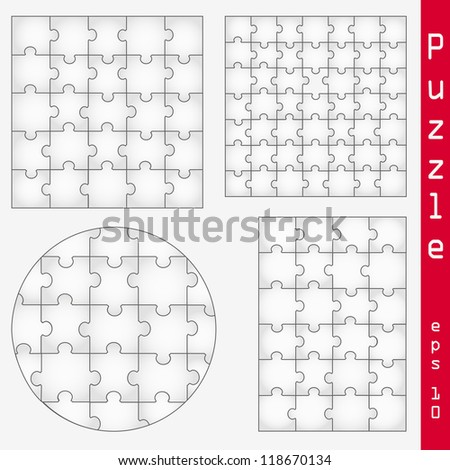 Various sizes puzzle isolated on gray background - vector illustration, graphic design editable for your design. Logo design - stock vector