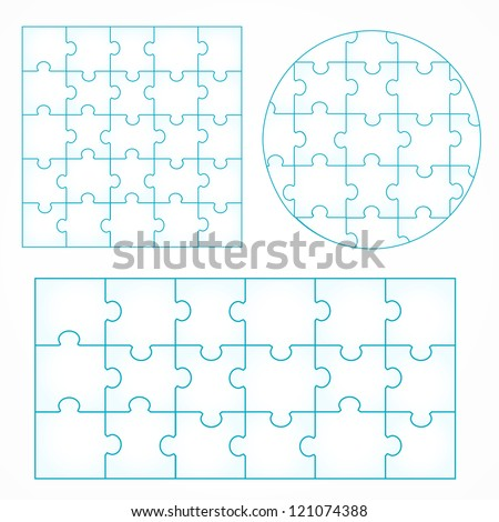 Various sizes puzzle isolated on white background, vector illustration, graphic design editable for your design. Puzzle Logo - stock vector