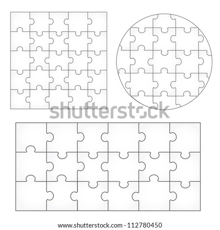 Various Sizes Puzzle Set - Isolated On White Background, Vector Illustration, Graphic Design Editable For Your Design. Puzzle Logo - stock vector