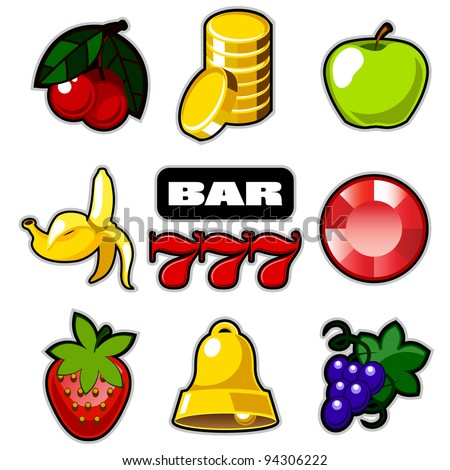 Various slot fruit machine icons vector - stock vector